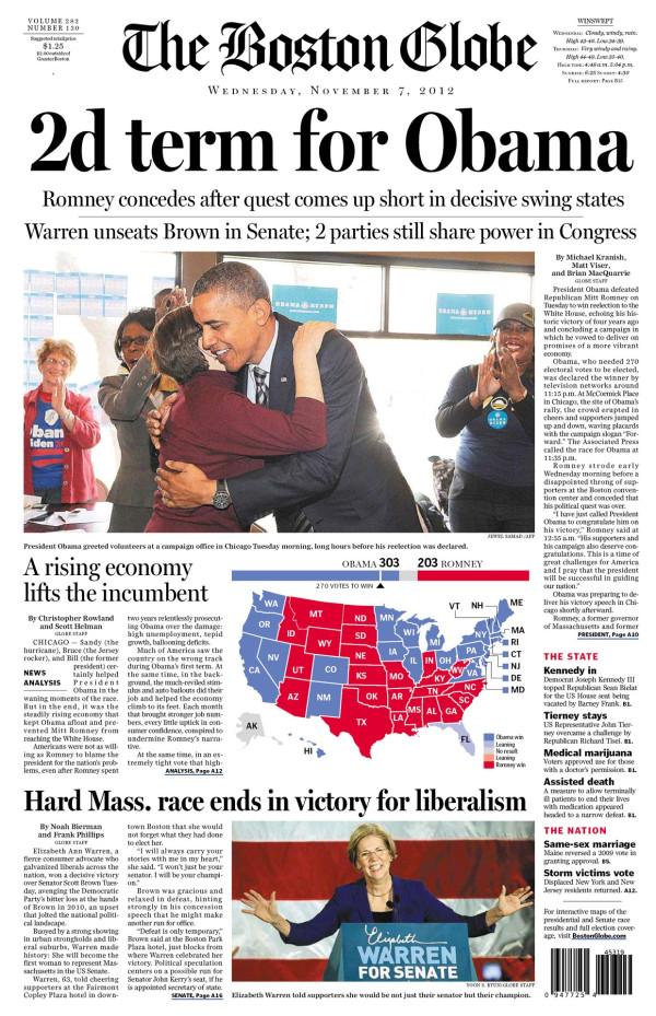Boston Globe after Obama's re-election